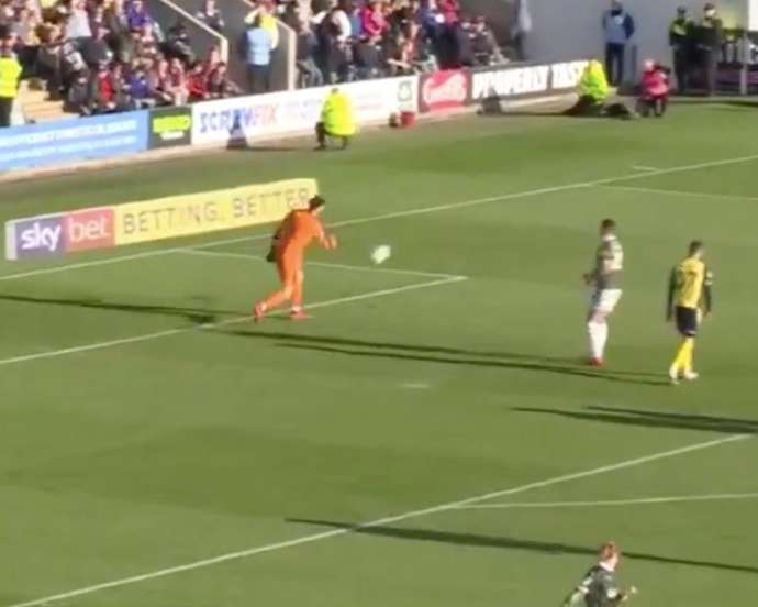 The Plymouth goalkeeper was understandably upset. Screenshot/GMS_Football