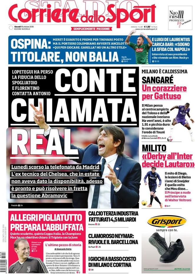 Corriere Dello Sport Real Madrid Sound Out Conte Besoccer