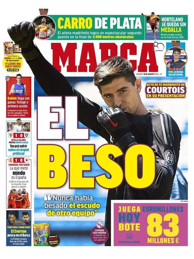 La Une de 'Marca' du 10 août 2018. Marca