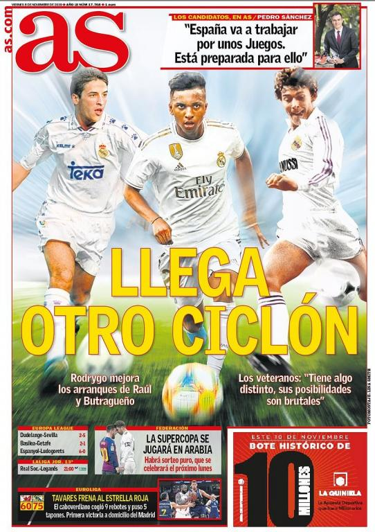 Capa do jornal AS de 08-11-19. AS