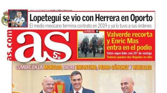 Capa do jornal 'AS' de 13-09-18. AS