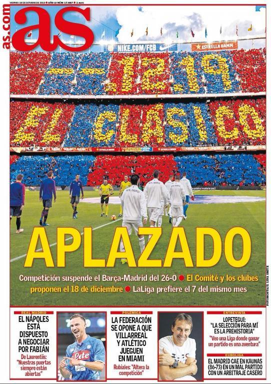 Capa do jornal 'AS' de 18-10-19. AS