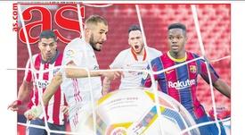 Les Unes des journaux sportifs en Espagne du 29 septembre 2020. AS