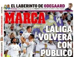Les Unes des journaux sportifs en Espagne du 5 juin 2020. marca