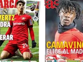 Capas das revistas 'Marca' e 'AS' de 31 de maio de 2020. Marca/AS