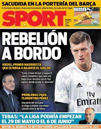Capa do 'Sport' de 8 de abril de 2020. Sport