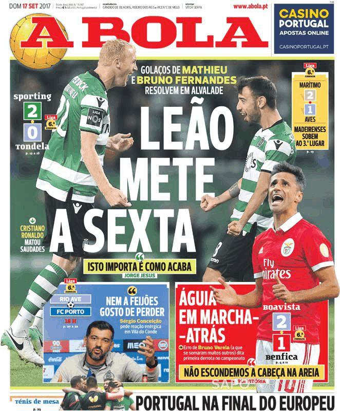 As capas da imprensa desportiva de 17 de setembro de 2017 - BeSoccer 842ace8b69ed3