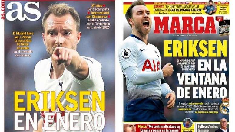 La Une des journaux sportifs en Espagne du 10 octobre 2019. Montage/Besoccer