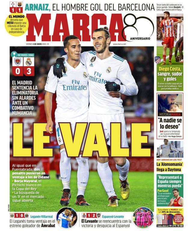 Portadas de la prensa deportiva del 05 01 18 besoccer for Marca resultado madrid
