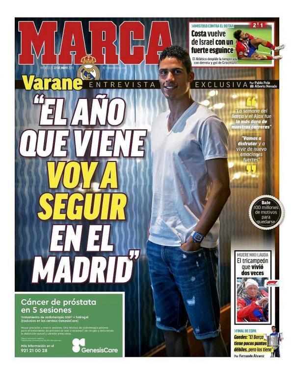 Une de Marca du 22/05/2019. Marca
