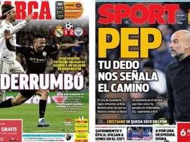 Capas dos portais Marca e Sport do dia 27-02-2020. Sport/Marca