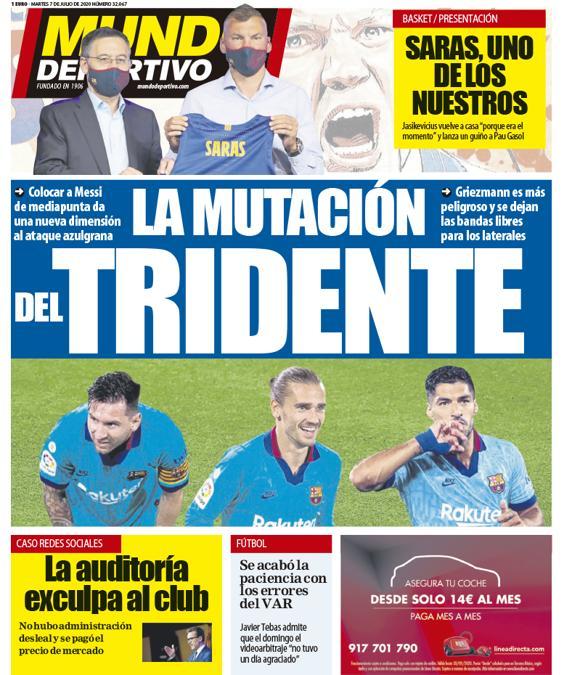 Capa da revista Mundo Deportivo de 07-07-2020. MundoDeportivo