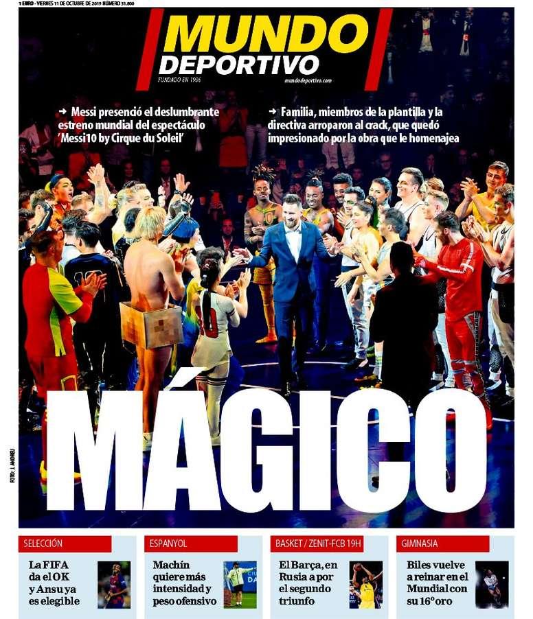 Les Unes des journaux sportifs en Espagne du 11 octobre 2019. MundoDeportivo