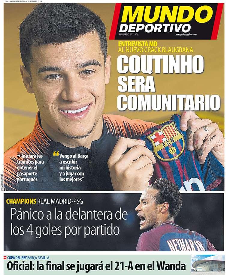 Capa do 'Mundo Deportivo' de 13-02-18. MundoDeportivo