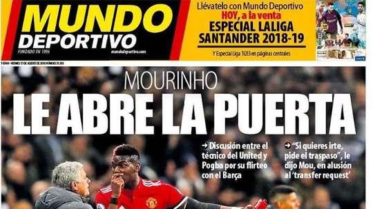 Portada de Mundo Deportivo del 17-08-2018. MundoDeportivo