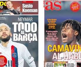 Les Unes des journaux sportifs en Espagne du 04 mai 2020. MundoDeportivo/AS