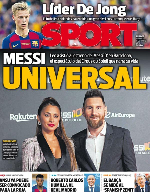 Capa do jornal Sport de 11-10-2019. Sport