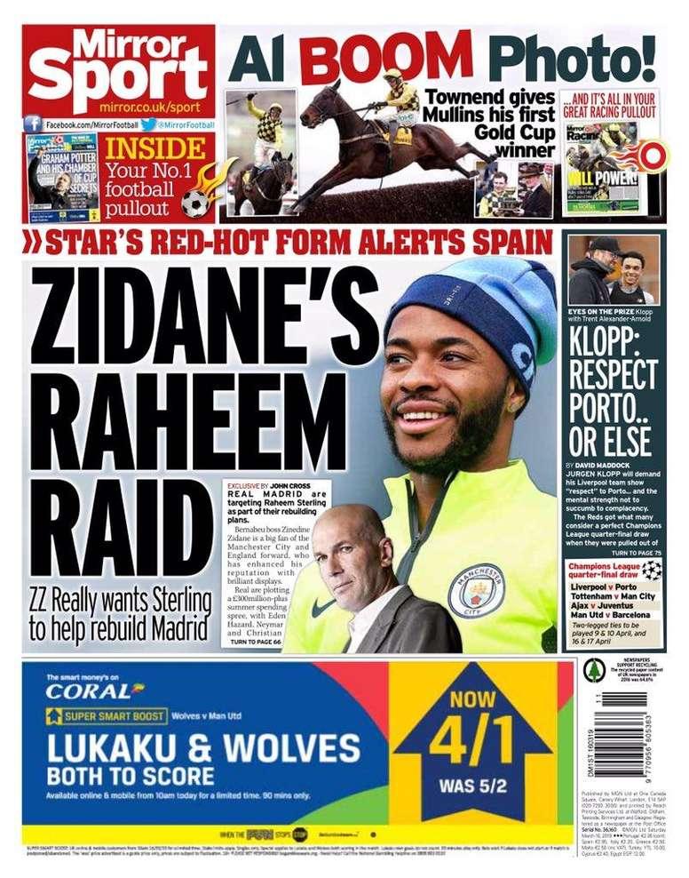 En Angleterre, on affirme que Zidane voudrait Sterling au Real Madrid. Mirror