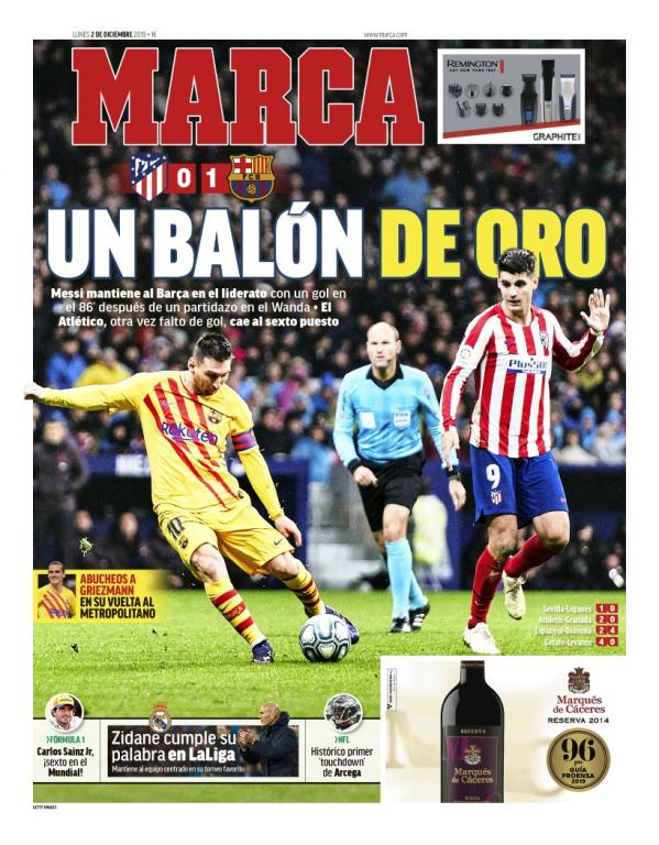 Capa do jornal Marca de 1º de dezembro de 2019. Marca
