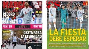 Capas de Marca e AS del 13-10-2019. Montaje/BeSoccer