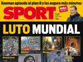 As capas da imprensa esportiva de 27 de novembro de 2020. Sport