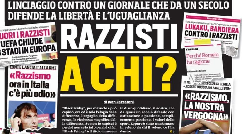 Le 'Corriere dello Sport' se défend suite à sa Une polémique sur Lukaku et Smalling. Corriere