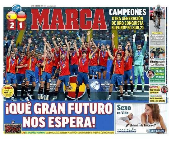 Les Unes des journaux sportifs en Espagne du 01 juillet 2019. Marca