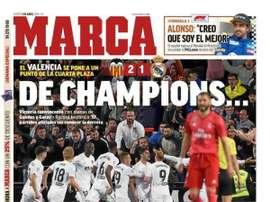 Une de 'Marca' du 04/04/2019. 'Marca'