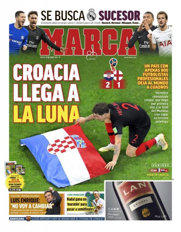 Le sjournaux espagnols sont voués à la cause de la Croatie. MArca