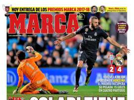 Capa do jornal 'Marca' de 12-11-18. Marca
