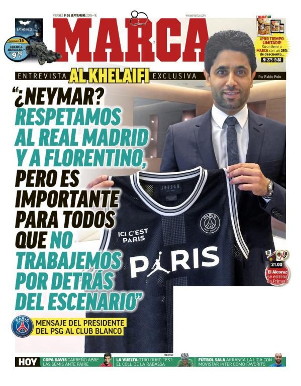 La Une de Marca du 14/09/2018. Marca