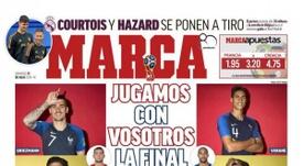 Capa do jornal 'Marca' de 15-07-18. Marca
