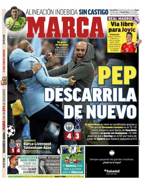 Une de Marca du 18 avril 2019. Marca
