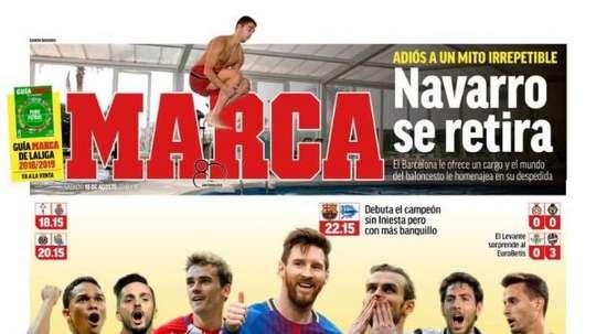 Capa do jornal 'Marca' de 18-08-18. Marca
