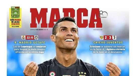 Capa do jornal 'Marca' de 19-08-18. Marca