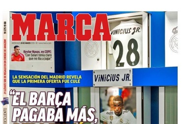 Capa do jornal 'Marca' de 20-03-19. Marca
