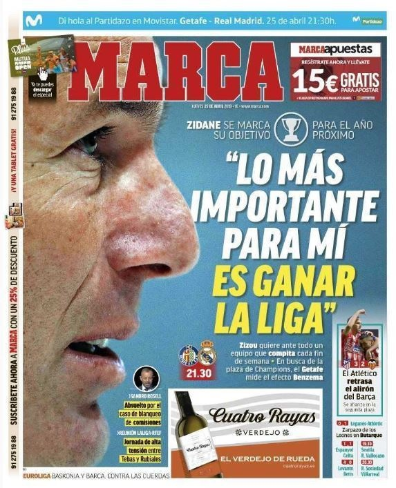 Capa do jornal Marca de 25-04-19. Marca