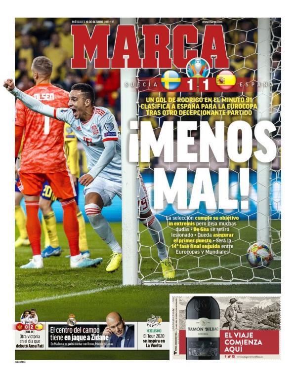 La Une de Marca du 16/10/2019. Marca
