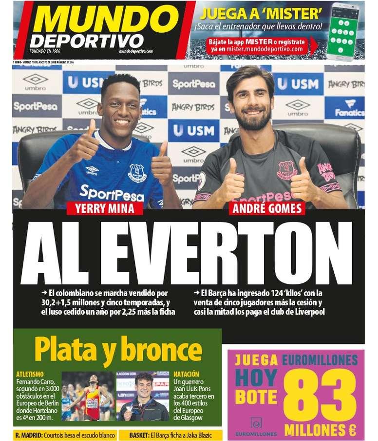 Capa do jornal 'Mundo Deportivo' de 10-08-18. Mundo Deportivo