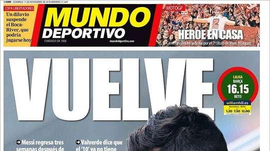 Capa do jornal 'Mundo Deportivo' de 11-11-18. MundoDeportivo
