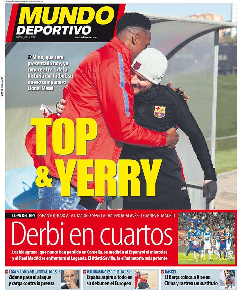 A capa do jornal 'Mundo Deportivo' de 13 de janeiro de 2018. MundoDeportivo