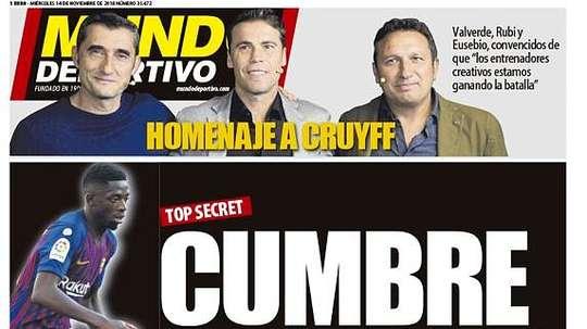 Capa do jornal 'Mundo Deportivo' de 14-11-18. MundoDeportivo