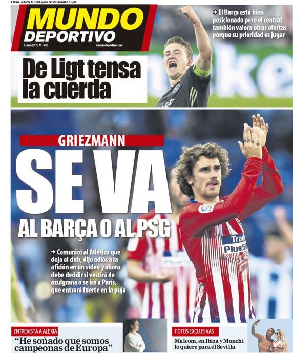 Capa do jornal 'Mundo Deportivo' de 15-05-19. MD
