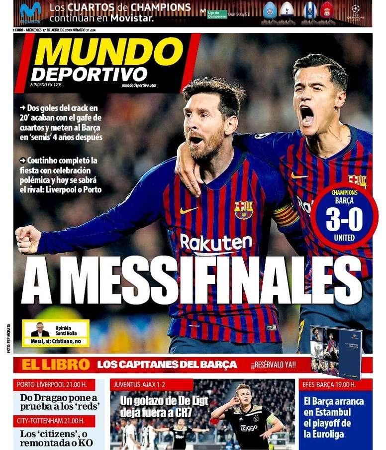 Periodico F.C.Barcelona. Portada-mundo-deportivo-17-04-19--md