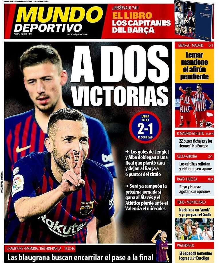 Portada Mundo Deportivo 21-04-19. MundoDeportivo