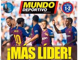 Portada Mundo Deportivo del 16-09-18. Mundo Deportivo