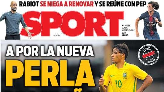 Capa do jornal 'Sport' de 10-09-18. Sport