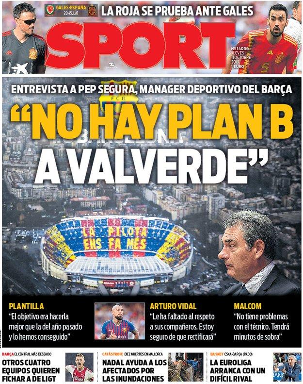 Capa do jornal 'Sport' de 11-10-18. Sport