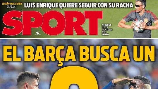 Capa do jornal 'Sport' de 15-10-18. Sport