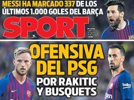Capa do jornal 'Sport' de 20-08-18. Sport